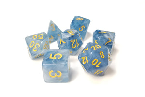 "D&D Dice Set / Blue White Clear ""Tides of Chaos"" DnD dice set"