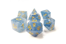 "Load image into Gallery viewer, D&D Dice Set / Blue White Clear ""Tides of Chaos"" DnD dice set"