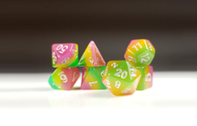 "Load image into Gallery viewer, D&D Dice Set: Pink Yellow Green ""Fairy Treats"" / Dungeons and Dragons dice set"