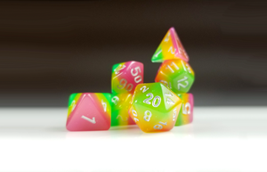 "D&D Dice Set: Pink Yellow Green ""Fairy Treats"" / Dungeons and Dragons dice set"