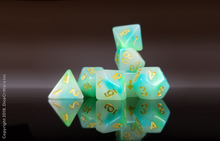 Load image into Gallery viewer, DnD Dice Set / Green Teal Swirls D&D dice set