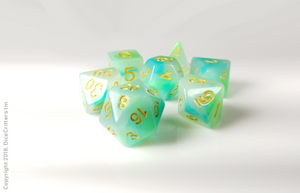 DnD Dice Set / Green Teal Swirls D&D dice set