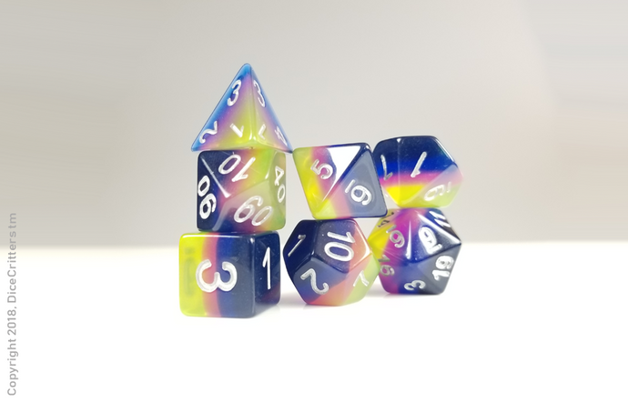 D&D Dice Set: Yellow to Blue