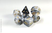 "Load image into Gallery viewer, D&D Dice Set: Black White Marble ""Gargoyle"" / Dungeons and Dragons dice set"