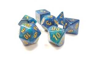 "D&D Dice Set / Green Blue Glitter ""Ethereal Plane"" DnD dice set"