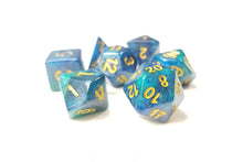 "Load image into Gallery viewer, D&D Dice Set / Green Blue Glitter ""Ethereal Plane"" DnD dice set"