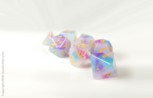 Load image into Gallery viewer, DnD Dice Set / Pink Blue Swirls D&D dice set