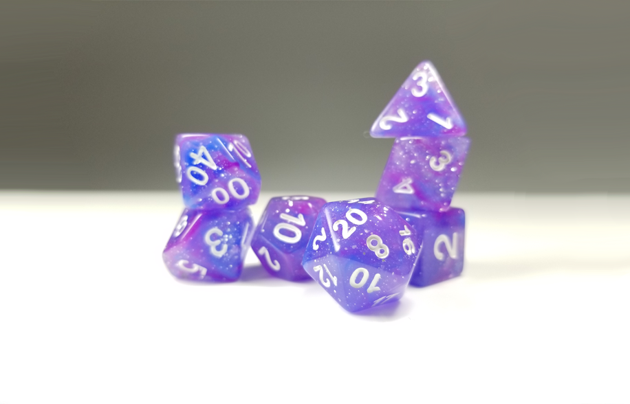 D&D Dice Set: Purple Glitter