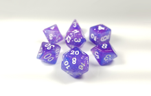 "Load image into Gallery viewer, D&D Dice Set: Purple Glitter ""Astral Plane"" D&D dice set / Dungeons and Dragons dice set"