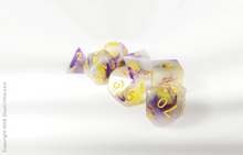 Load image into Gallery viewer, DnD Dice Set / Purple Yellow Swirls D&D dice set