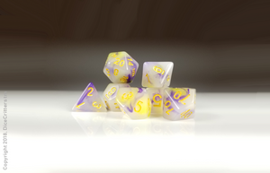 DnD Dice Set / Purple Yellow Swirls D&D dice set