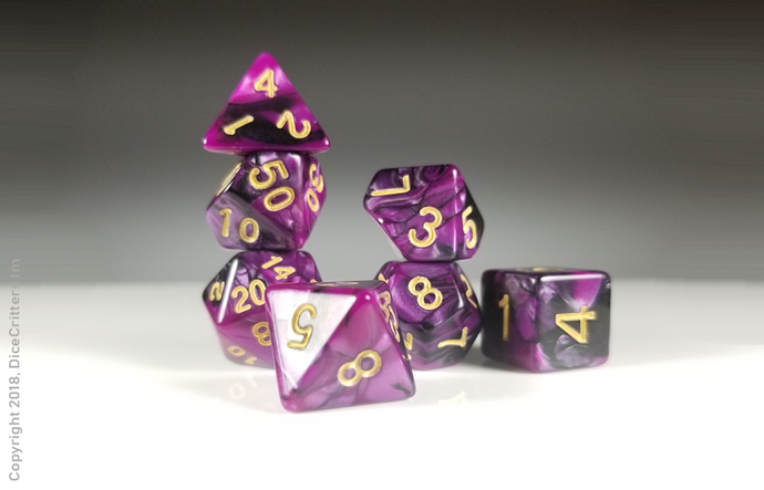D&D Dice Set: Purple Black Marbled Dice / Dungeons and Dragons dice set