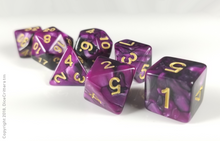 Load image into Gallery viewer, D&D Dice Set: Purple Black Marbled Dice / Dungeons and Dragons dice set