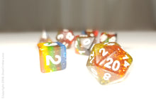 "Load image into Gallery viewer, DnD Dice Set / Rainbow Glitter ""Candyland"" / Tabletop RPG Polyhedral dice, D&D dice set"