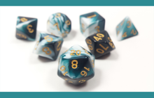 "Load image into Gallery viewer, D&D Dice Set: Teal White ""Cthulhu's Dream"" / Dungeons and Dragons dice set"