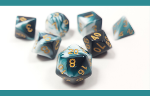 "D&D Dice Set: Teal White ""Cthulhu's Dream"" / Dungeons and Dragons dice set"