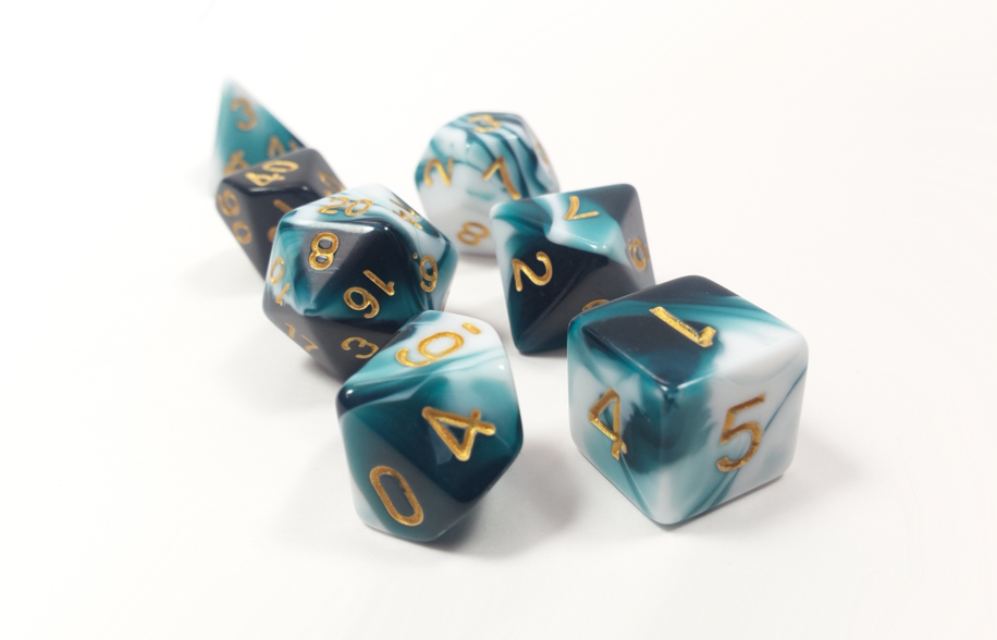 D&D Dice Set: Teal White