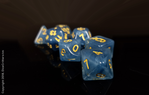 D&D Dice Set / Blue White Clear