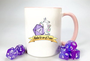 "Unicorn Coffee Mug / D20 Fail ""Rolled to see if I care"" / 11oz Coffee Cup"