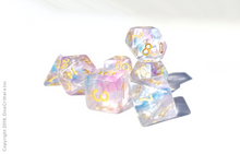"Load image into Gallery viewer, DnD Dice Set / Pink Blue Clear ""Unicorn Tears"" / Tabletop RPG Polyhedral dice, D&D dice set"