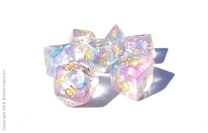 "DnD Dice Set / Pink Blue Clear ""Unicorn Tears"" / Tabletop RPG Polyhedral dice, D&D dice set"