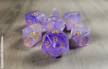 Load image into Gallery viewer, D&D Dice Set / Amethyst Light Purple DnD dice set / Faux Stone
