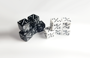 Magic Counter Dice x10: 5x +1/+1 +6/+6 and 5x -1/-1 -6/-6, Positive Negative Counters