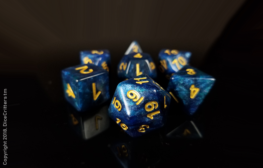 D&D Dice Set / Green Blue Glitter