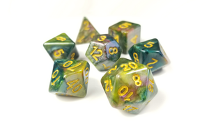 "D&D Dice Set / Green Purple Yellow ""Temporal Plane"" DnD dice set"