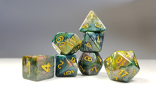 "Load image into Gallery viewer, D&D Dice Set / Green Purple Yellow ""Temporal Plane"" DnD dice set"