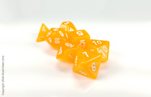 Load image into Gallery viewer, DnD Dice Set / Orange Glitter Translucent D&D dice set
