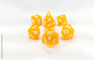 DnD Dice Set / Orange Glitter Translucent D&D dice set