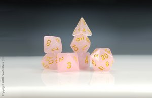 DnD Dice Set / Pink Glitter Translucent D&D dice set