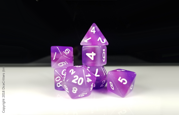 D&D Dice Set: Purple Pink Glitter Layers / Dungeons and Dragons dice set