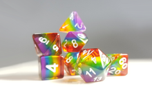 "Load image into Gallery viewer, DnD Dice Set / Rainbow ROYGBIV ""Spectrum"" / Tabletop RPG Polyhedral dice, D&D dice set"