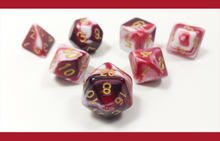 "Load image into Gallery viewer, D&D Dice Set: Red White ""Dragon's Blood"" / Dungeons and Dragons dice set"
