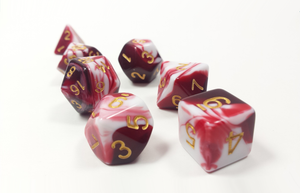 "D&D Dice Set: Red White ""Dragon's Blood"" / Dungeons and Dragons dice set"