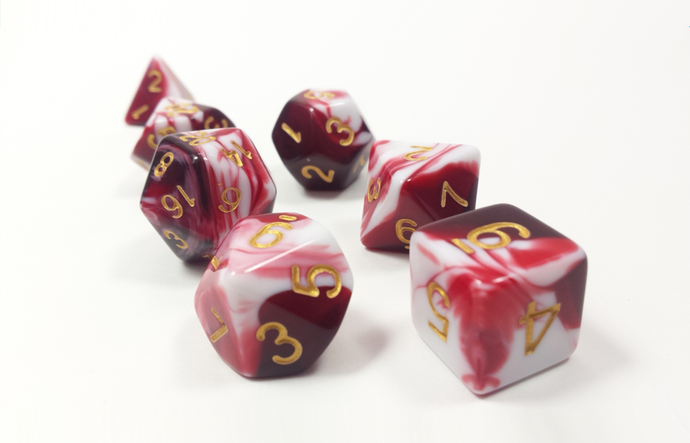 D&D Dice Set: Red White