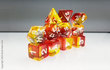 Load image into Gallery viewer, 11 piece D&D Dice set: Red Yellow Layers / Dungeons and Dragons dice set
