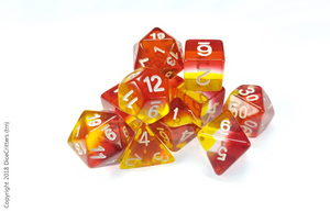 11 piece D&D Dice set: Red Yellow Layers / Dungeons and Dragons dice set