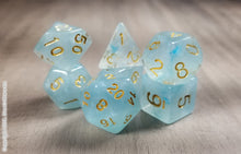 Load image into Gallery viewer, D&D Dice Set / Aquamarine Light Blue DnD dice set / Faux Stone