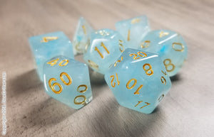 D&D Dice Set / Aquamarine Light Blue DnD dice set / Faux Stone