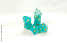 Load image into Gallery viewer, DnD Dice Set / Teal Glitter Translucent D&D dice set