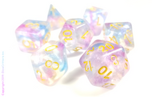 "Load image into Gallery viewer, DnD Dice Set / Purple Blue Shimmer ""Unicorn Magic"" / Tabletop RPG Polyhedral dice, D&D dice set"