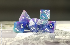 "D&D Dice Set / Blue Purple Green Swirls ""Pegasus Magic"" DnD dice set"
