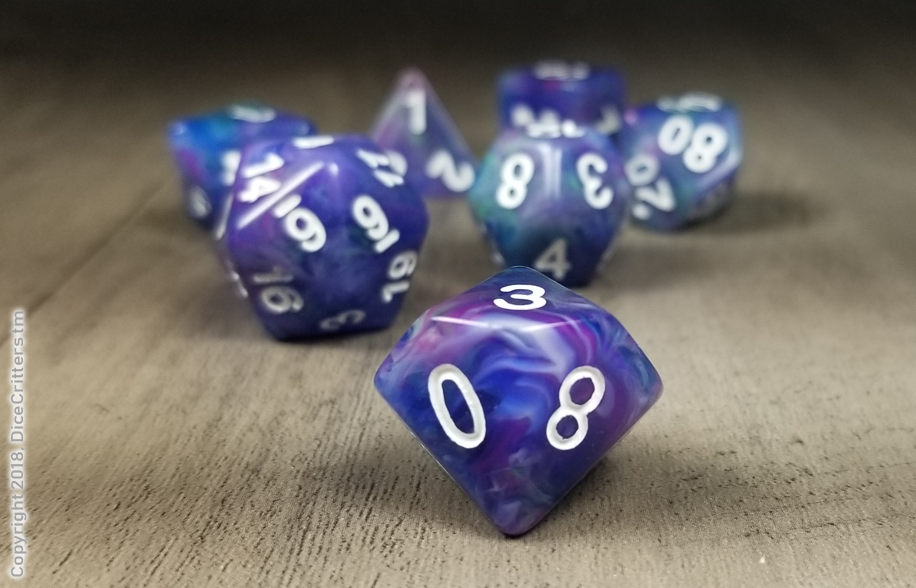 D&D Dice Set / Blue Purple Green Swirls