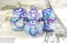 "Load image into Gallery viewer, D&D Dice Set / Blue Purple Green Swirls ""Pegasus Magic"" DnD dice set"