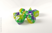 "Load image into Gallery viewer, D&D Dice Set: Yellow Green Purple ""Pixie Dust"" Layers / Dungeons and Dragons dice set"