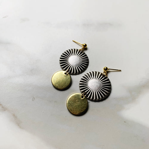 Mixed Metal Sunburst Earrings