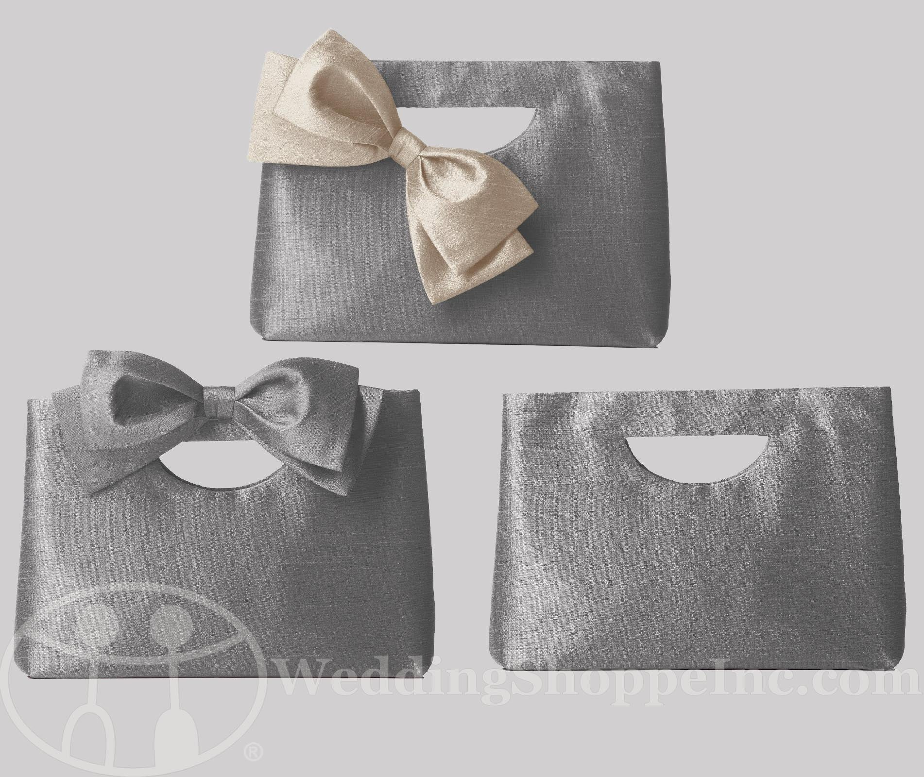 Dessy pewter bridesmaid clutches